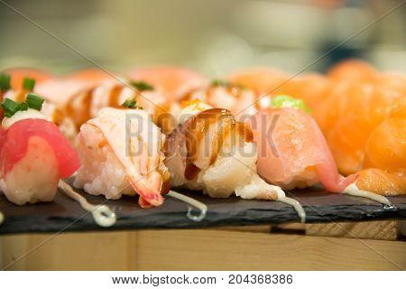 Sushi served on plate Japanese foodi set