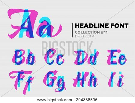 Expressive Decorative Typography. Display Type with Glitch Overlay Effect. Combination of Sans-Serif and Lettering for Bright Title Heading Poster Advertising. Modern Letters with Layers.