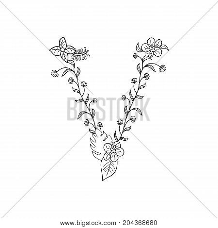 Tropical floral summer pattern hand drawn ornamental font with palm beach leaves, flower. Letter V