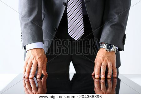Empty Arms Of Man In Suit And Tie Closeup