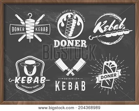 Doner kebab logos. Vector kebab badges with traditional eastern grill dishes on the chalkboard background. Vintage labels for restaurant or bar.