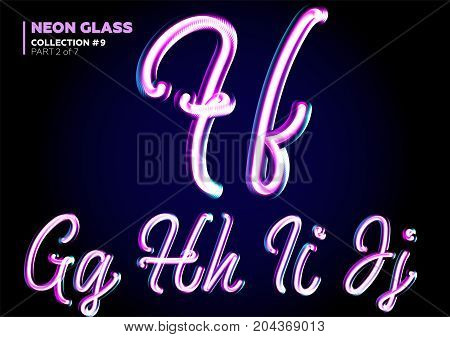 Neon Glowing 3D Typeset. Font Set of Glass Letters. Glossy Pink and Blue Colors. Night Glow Effect. Tube Alphabet. ABC for DJ Poster Sale Banner Signboard Advertising.