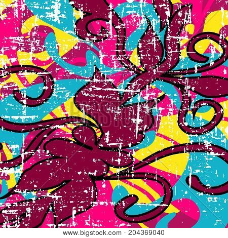 psychedelic colored graffiti pattern vector illustration abstract high quality