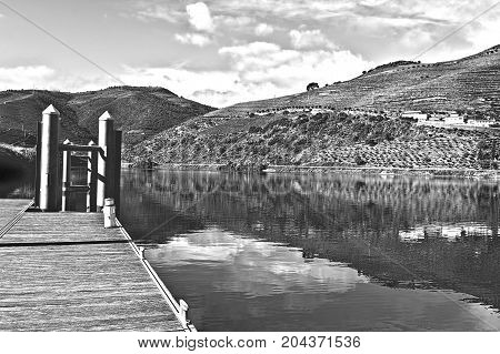 Mooring Line on the River Douro in Portugal Stylized Photo