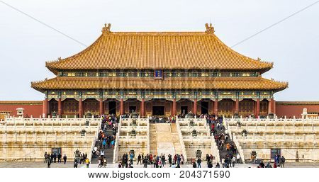 Beijing, China - Oct 30, 2016: The Hall of Supreme Harmony (Taihedian). At the Forbidden City (Gu Gong, Palace Museum).