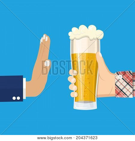 No alcohol. Man offers to drink holding a Glass of beer in hand. Stop alcohol. vector illustration in flat style