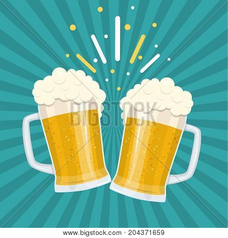 Toasting glasses of beer. Beer party mugs of beer. vector illustration in flat style