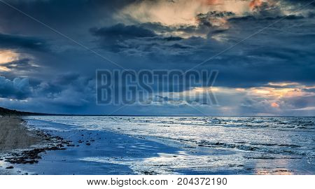 Autumn is coming to the Baltic Sea, approaching storm can be seen in the distance