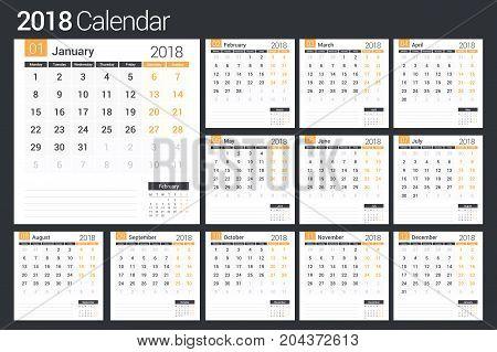 2018 Calendar template, planner, 12 pages, vector eps10 illustration