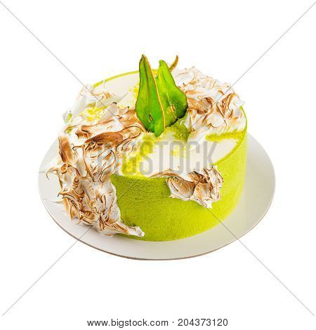 Birthday Cake With Burned Meringue And Colored Pear Slices. Isolated On White