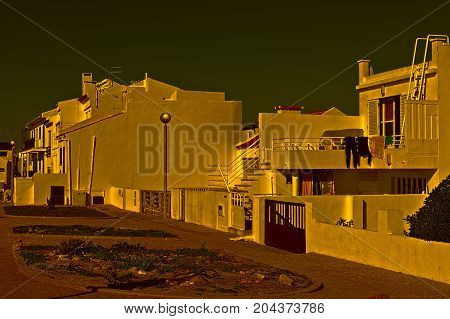 Street in the Modern Portuguese City on the Shores of the Atlantic Ocean at Sunset