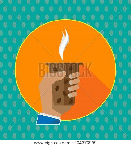Isolated vector illustration. Hand holding cup of hot drink. Coffee time, coffee break. Man cartoon Hand Paper Coffee Cup Latte Americano Espresso. Flat Design Vector Illustration