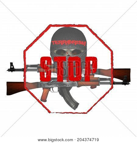 Skull terrorist masked and Kalashnikov machine guns. Isolated objects can be used with any image or text.
