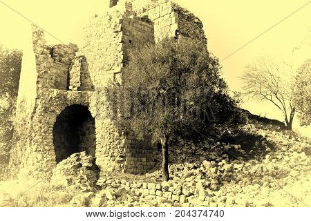 Remnants of Crusader castle in Israel. The Yehiam Fortress National Park of Israel. Vintage Style Toned Picture