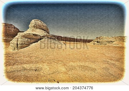 Rocky hills of the Negev Desert in Israel. Wind carved rock formations in the Southern Israel Desert. Vintage style toned picture