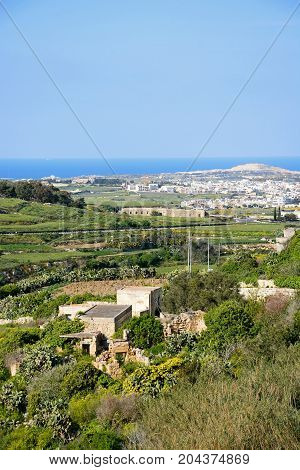 View looking North towards the coast from the Citadel Mdina Malta Europe.