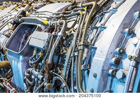Macro view of the airliner turbojet turbine engine equipment with selective focus effect