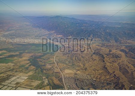 Aerial View Of Corona, View From Window Seat In An Airplane