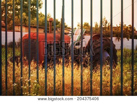Red old tractor behind a blue fence.