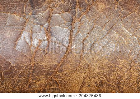 Very old cracked leather chair texture close up