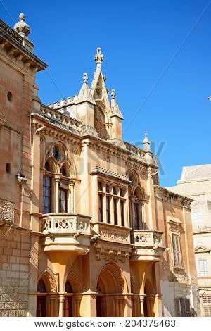 The Bishops Palace in the Pjazza San Pawl Mdina Malta Europe.