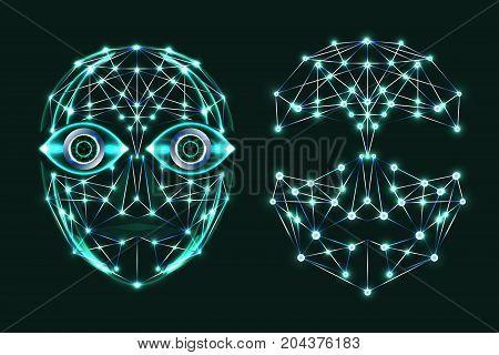 Digital technology background, digital face, digital eyes, futuristic security concept. Illustration vector