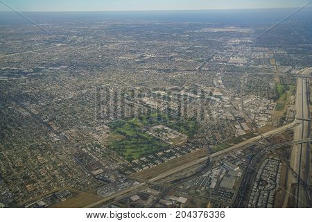 Aerial View Of Downey, View From Window Seat In An Airplane