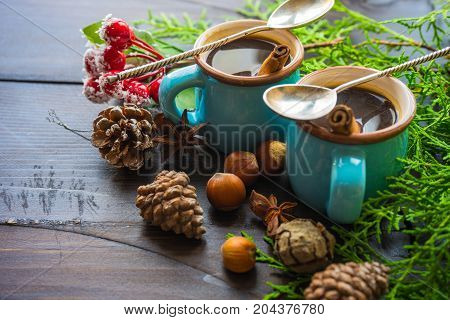 Christmas Concept With Cup Of Coffee