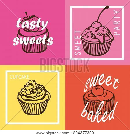 Modern colorful cupcake posters. Tasty sweets. Vintage style card set. Hand drawn vector illustration.