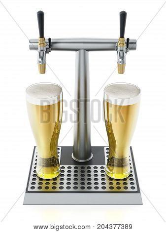 Two glasses of beer under alcoholic beverage taps. 3D illustration.