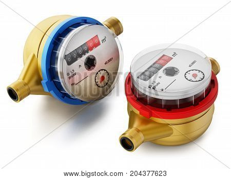 Water meters isolated on white background. 3D illustration.