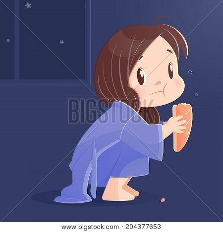 Cartoon girl eating bread at night. Vector Illustration