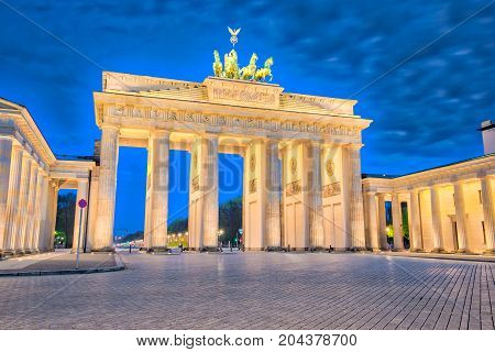 Brandenburger Tor In Berlin, Germany At Night