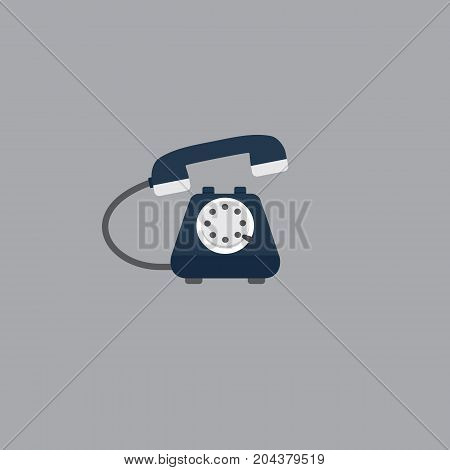 Flat Vintage Telephone. Flat Design of Blue Telephone