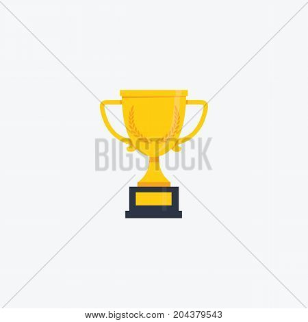Golden Trophy Cup Illustration. Flat Design of Trophy Isolated on White Background