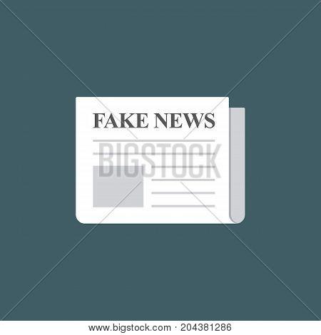Flat Design of Newspaper with Fake News Headline