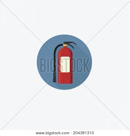 Flat Design of Fire Extinguisher Icon in Circle