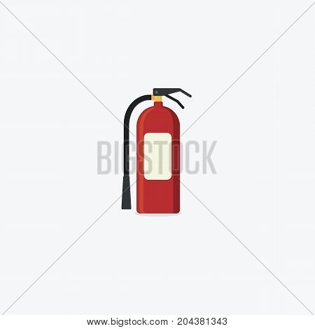 Flat Fire Extinguisher Isolated On White Background. Emergency and Rescue Concept