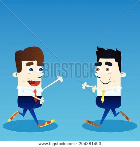 Vector cartoon happy smiling successful business office worker characters meeting illustration.