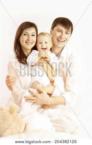Family Portrait Mother Father and Baby Kid Smiling Happy Parents whit Child white background