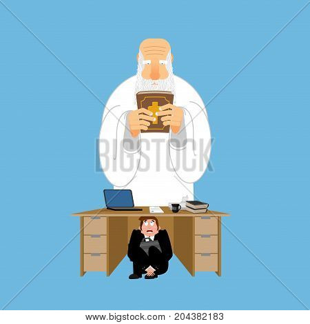 Businessman Scared Under Table Of God. Frightened Business Man Under Work Board. Atheist. Boss Fear