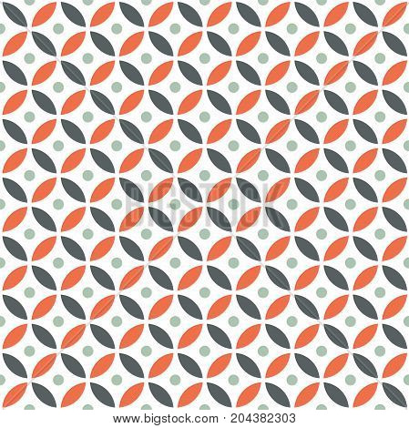 Seamless Intersecting Geometric Vintage Orange and Maroon Circle Pattern