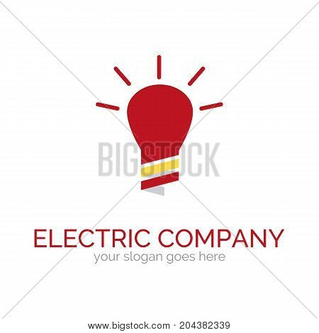 Vector logo template for electric company. Illustration of clipped light bulb. Electro icon. Design element for logotype. EPS10.