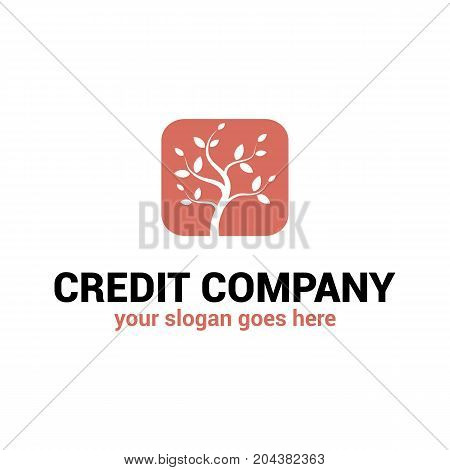Vector logo template for credit company. Finance logotype. Illustration of a tree a symbol of growth.