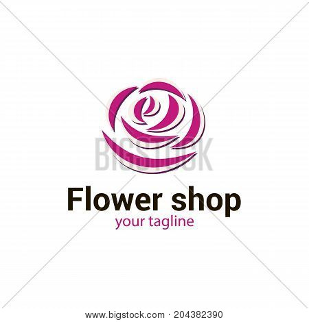 Vector logo template for flower shop or store floral atelier boutique beauty salon spa. Rose isolated on white background. Rose icon. Can be used for design of banners. EPS10. Creative logotype.