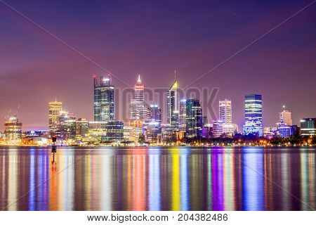 Perth city skyline from the South Perth foreshore. Perth, Western Australia, Australia. Photographed: April 2nd, 2016.