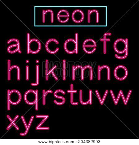 Pink glowing Neon Bar Alphabet on black background. Vector