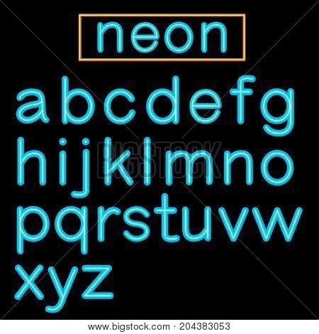 Blue glowing Neon Bar Alphabet on black background. Vector