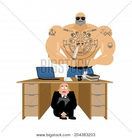 Businessman Scared Under Table Of Robber. Frightened Business Man Under Work Board. Offender Rob Pro