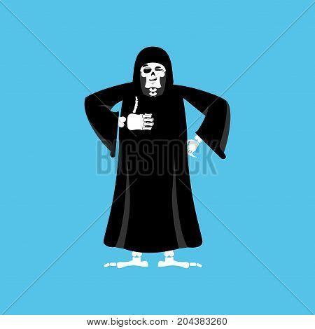 Grim Reaper Thumbs Up. Death Winks. Skeleton In Black Cloak Cheerful. Vector Illustration